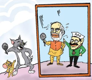 Cartoon tom and jerry Narendra Modi and Aam Aadmi Party Arvind Kejriwal