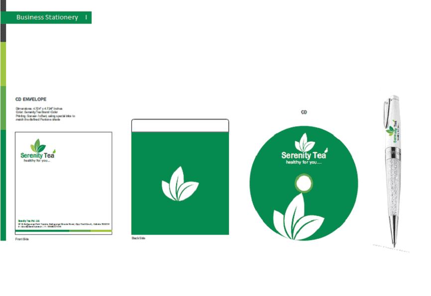 Logo Serenity Tea branding designing logo business card envelope, stationery cover