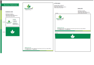 Serenity Tea branding designing logo business card envelope, stationery