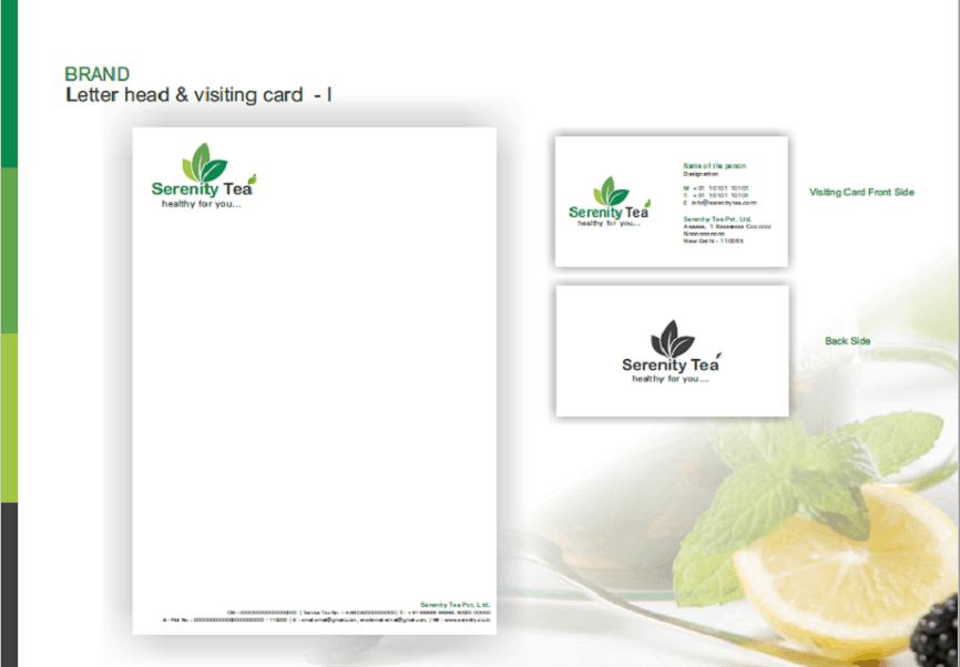 Serenity Tea branding designing logo business card letter head