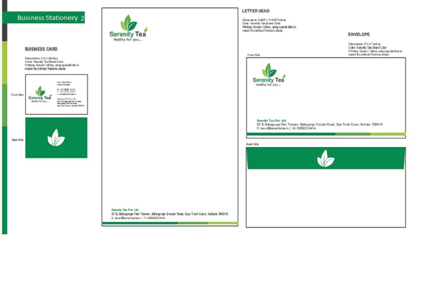Tea Serenity Tea branding designing logo business card envelope, stationery