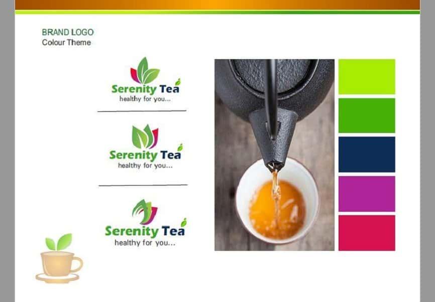 Tea Serenity Tea branding designing logo