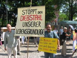 Protest-against-Monsanto-in-Munich-by-Indian-anti-GM-activist